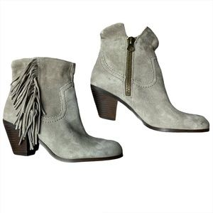 SAM EDELMAN Louie Fringed Gray Suede Ankle Boots